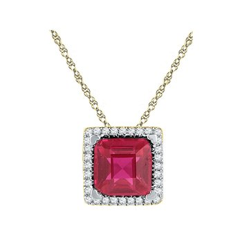 10kt Yellow Gold Womens Cushion Lab-Created Ruby Solitaire Diamond Pendant 1-7/8 Cttw