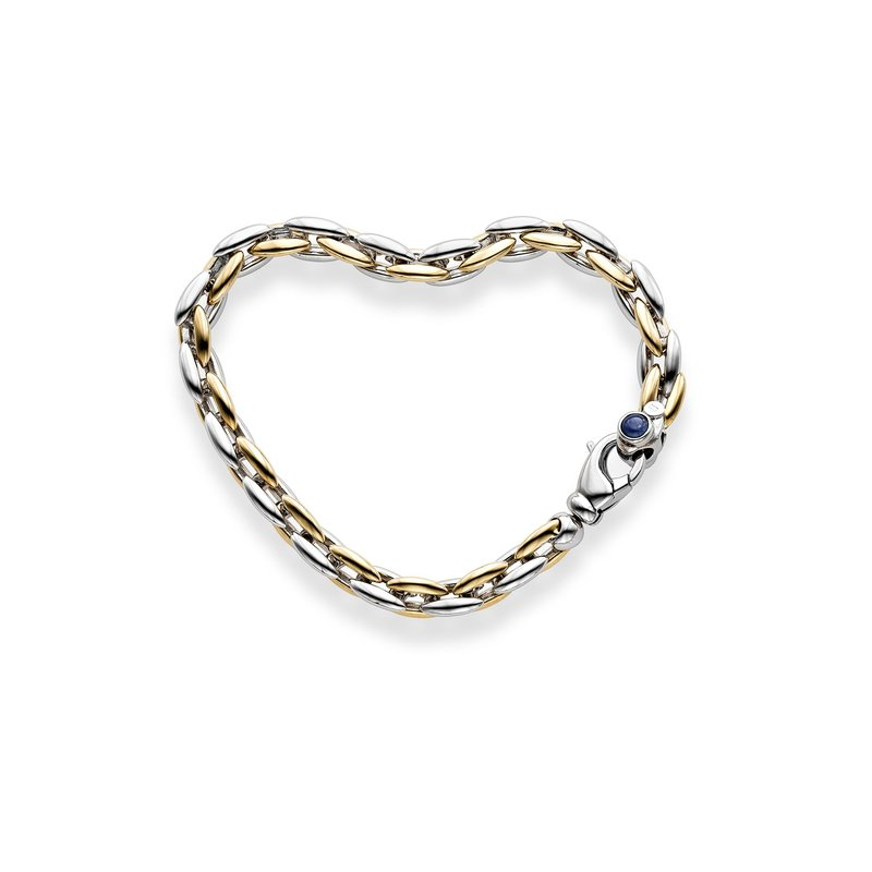 Royal Chain 14K Two-tone Gold Sapphire Accent Vicenza Link Bracelet