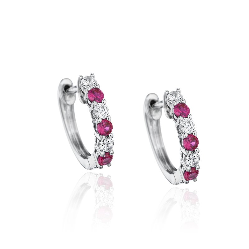 Fana Bold Beauty Alternating Ruby and Diamond Hoops