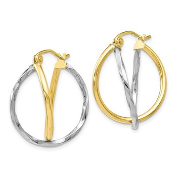 Leslie's 10K Two-Tone Hinged Hoop Earrings