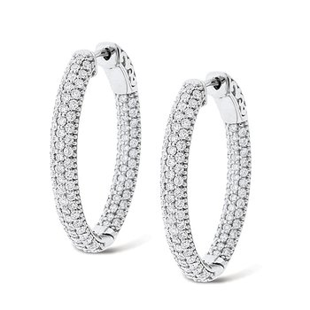 Diamond Inside Outside Hoop Earrings in 14k White Gold with 208 Diamonds weighing 2.55ct tw.