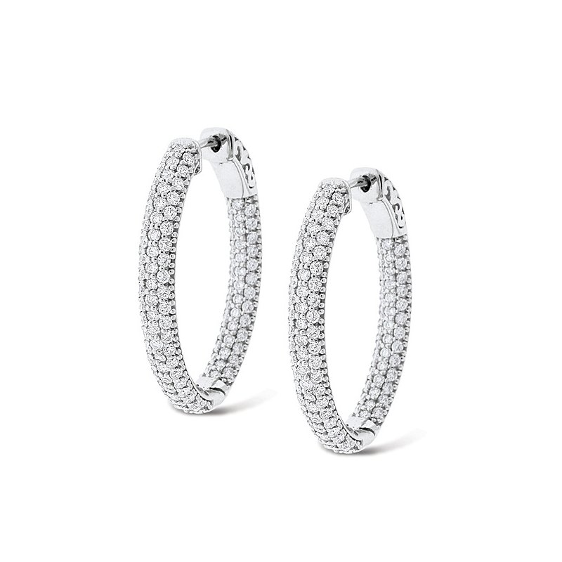 MAZZARESE Fashion Diamond Inside Outside Hoop Earrings in 14k White Gold with 208 Diamonds weighing 2.55ct tw.
