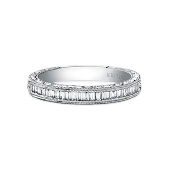 Channel Set Milgrain Baguette Diamond Wedding Band