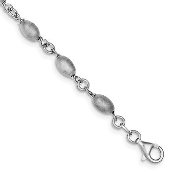 Sterling Silver Rhodium-plated Brushed Oval Hollow Bead Bracelet