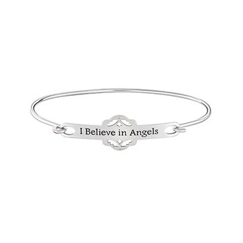 I BELIEVE IN ANGELS ID Bangle  Sm/Med Brt StSil, Black Enamel Text