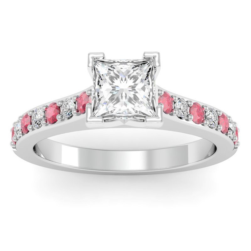 California Coast Designs Pave Ruby & Diamond Cathedral Engagement Ring