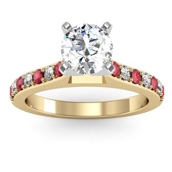 Pave Ruby & Diamond Cathedral Engagement Ring