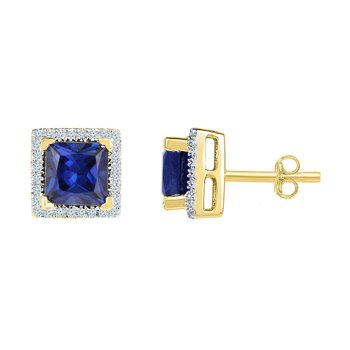10kt Yellow Gold Womens Princess Lab-Created Blue Sapphire Stud Earrings 2.00 Cttw