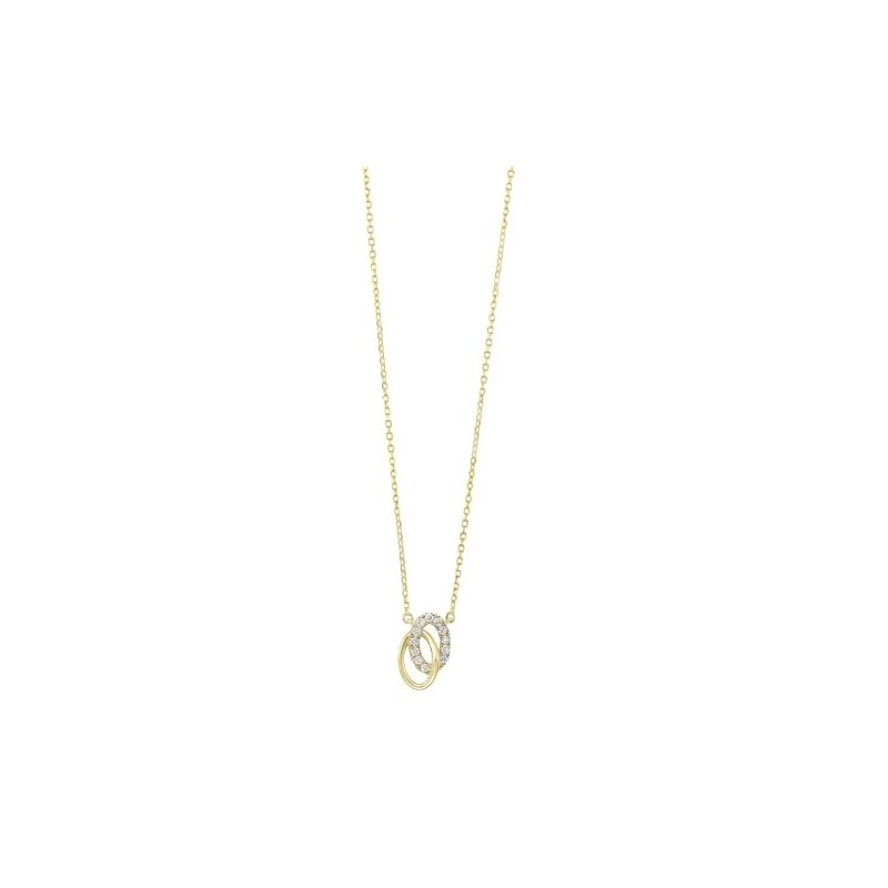 Gems One Diamond Double Oval Eternity Pendant Necklace in 14k Yellow Gold (0.08ctw)