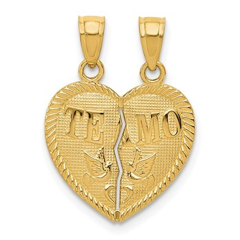 14k Break Apart Diamond-cut TE AMO Heart Pendant