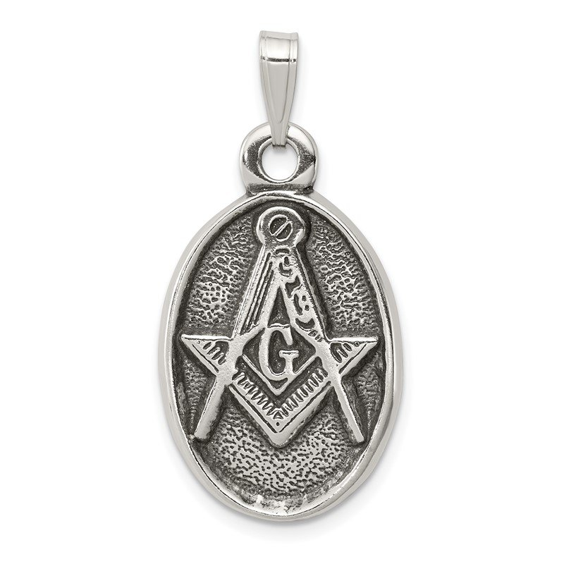 Quality Gold Sterling Silver Antiqued Masonic Pendant