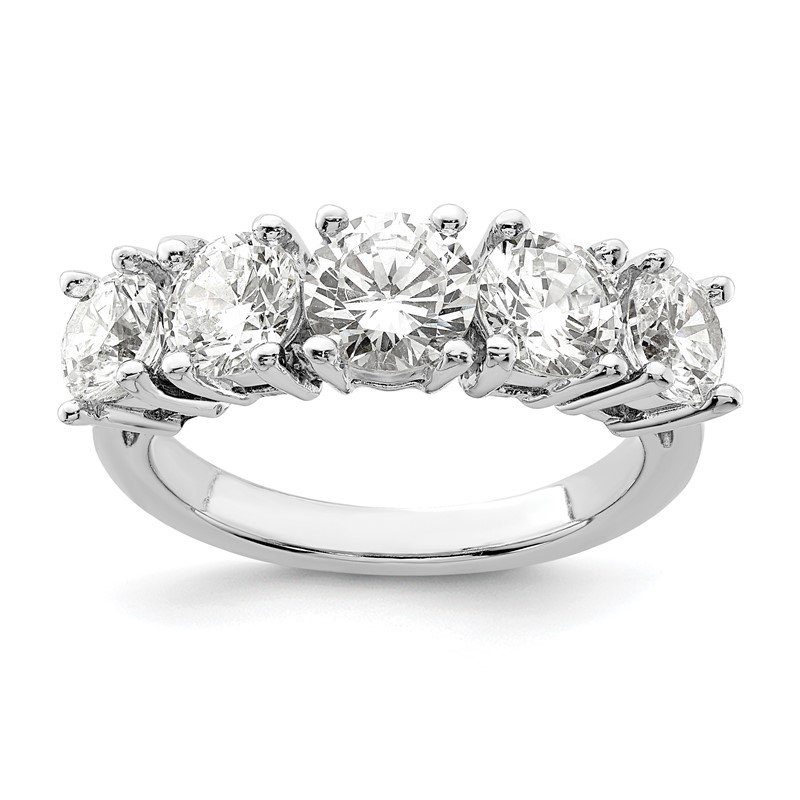 Quality Gold Sterling Silver Rhodium-plated CZ 5-Stone Ring
