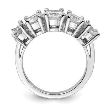 Sterling Silver Rhodium-plated CZ 5-Stone Ring