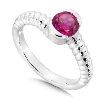 Sterling Silver Created Ruby Colore Of Life Stack Ring