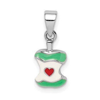 Sterling Silver Rhodium-plated Childs Enameled Apple Core Pendant