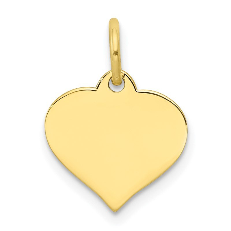 Quality Gold 10k .018 Gauge Heart Disc Charm