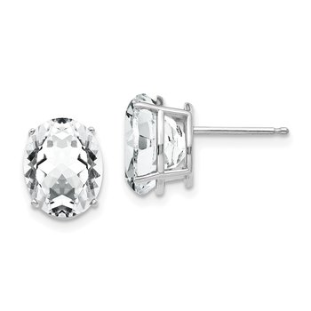 14k White Gold 10x8mm Oval Cubic Zirconia Earrings