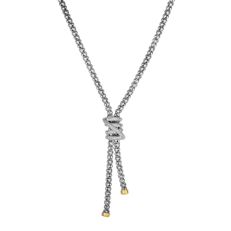 Royal Chain Sterling Silver & 18K Gold Popcorn Tally Diamond Necklace