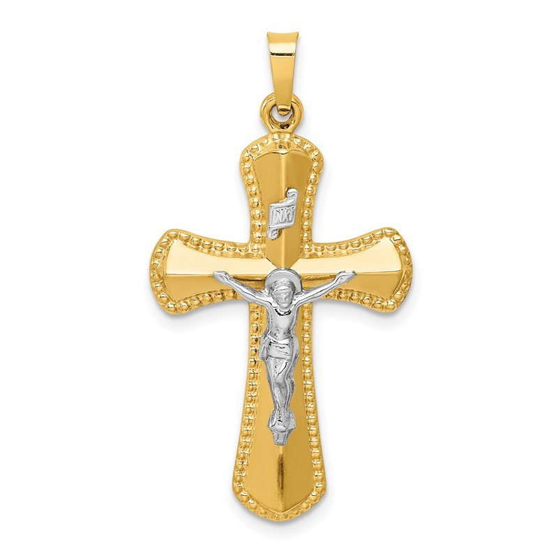 Quality Gold 14k Two-tone Hollow Polished Beaded Edge Crucifix