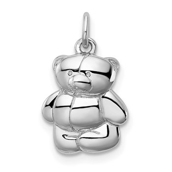 Sterling Silver Rhodium-plated Teddy Bear Pendant