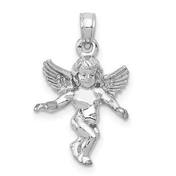 14k 3D White Gold Polished Solid Angel Pendant
