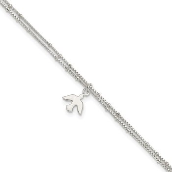 Sterling Silver Polished 2-Strand Dove 9in Plus1in Ext Anklet