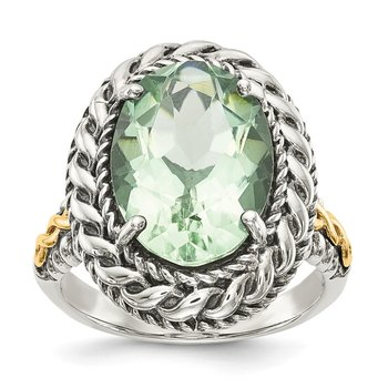 Sterling Silver w/14k Antiqued Green Quartz Ring