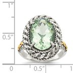 Shey Couture Sterling Silver w/14k Antiqued Green Quartz Ring