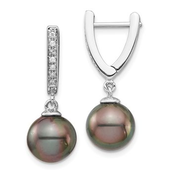 14K WG 9-10mm Round Saltwater Cultured Tahitian Pearl Diam Dangle Earrings