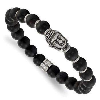Stainless Steel Antiqued Buddha Black Agate Beaded Stretch Bracelet