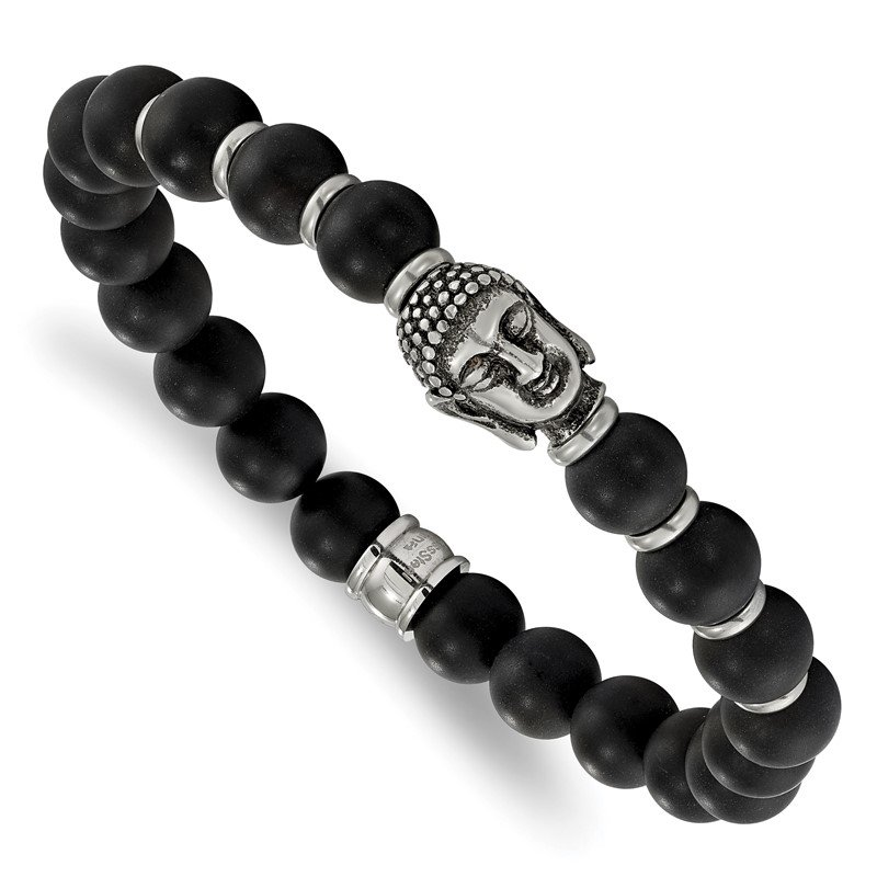 Chisel Stainless Steel Antiqued Buddha Black Agate Beaded Stretch Bracelet