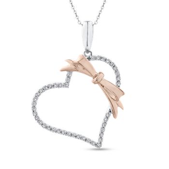10K White & Rose Gold 1/3 Ct Diamond Heart Pendant with Chain