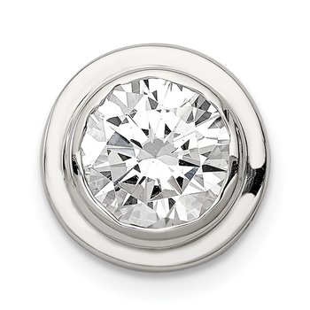 Sterling Silver 8mm CZ Round Slide