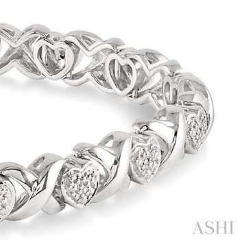 silver heart shape diamond bracelet