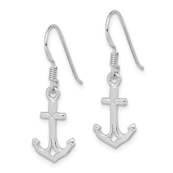 Sterling Silver Rhodium-plated Anchor Earrings