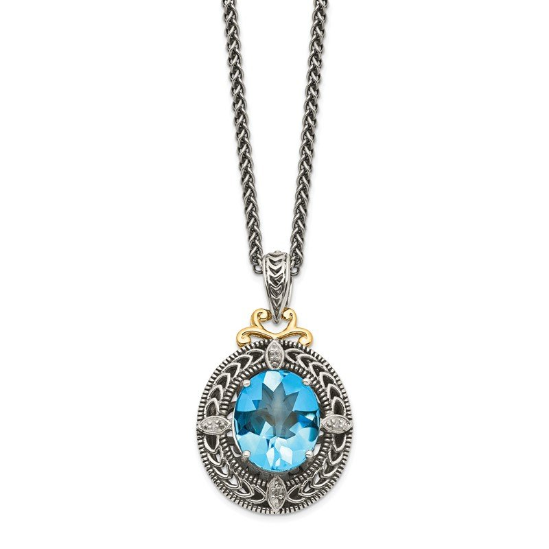 Quality Gold Sterling Silver w/14k Diamond & Blue Topaz Necklace
