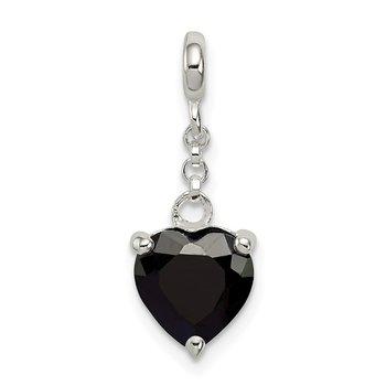 Sterling Silver Black CZ Heart 1/2in Dangle Enhancer