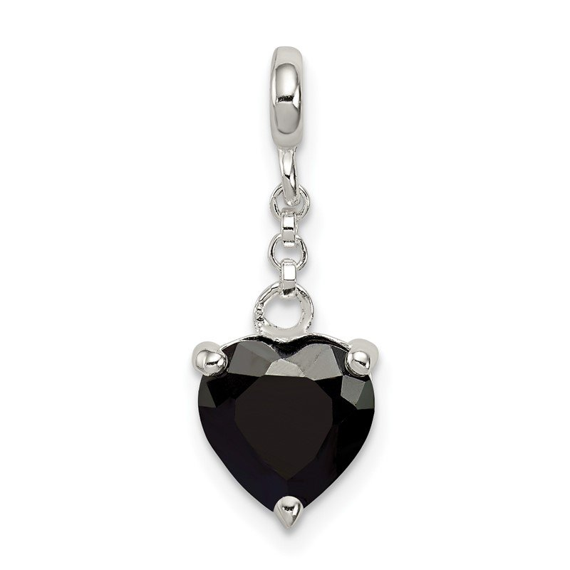 Quality Gold Sterling Silver Black CZ Heart 1/2in Dangle Enhancer