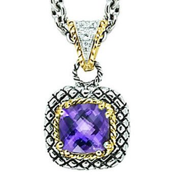 18kt and Sterling Silver Cushion Amethyst and Diamond Button Pendant with Chain