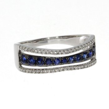 14k White Gold Contour Sapphire and Diamond Ring