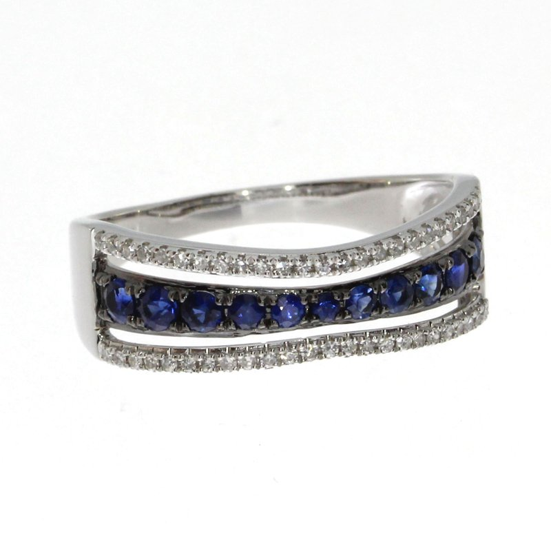 Color Merchants 14k White Gold Contour Sapphire and Diamond Ring