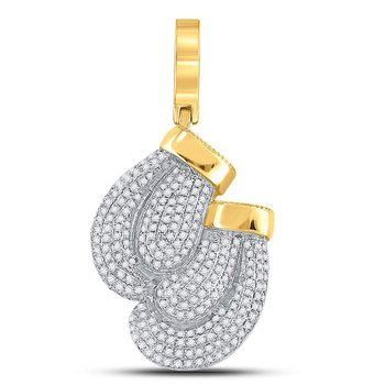10kt Yellow Gold Mens Round Diamond Boxing Gloves Charm Pendant 7/8 Cttw