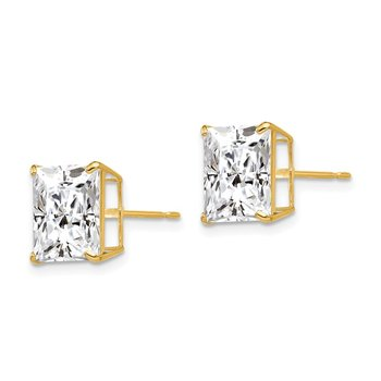 14k 9mm Square CZ Post Earrings