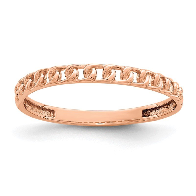 Quality Gold 14K Rose Gold Link Design Ring
