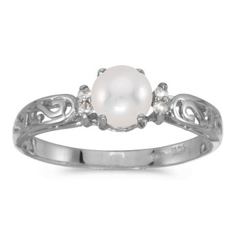 14k White Gold Freshwater Cultured Pearl And Diamond Filagree Ring