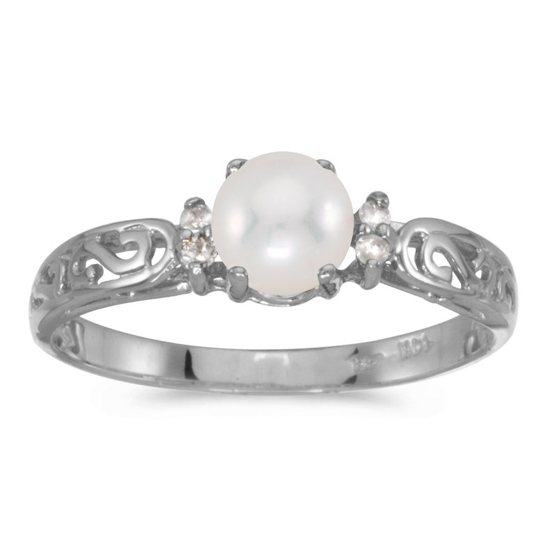 Color Merchants 14k White Gold Freshwater Cultured Pearl And Diamond Filagree Ring
