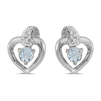 10k White Gold Round Aquamarine And Diamond Heart Earrings