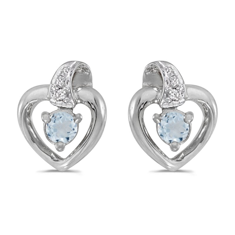 Color Merchants 10k White Gold Round Aquamarine And Diamond Heart Earrings