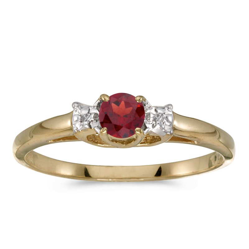 Color Merchants 10k Yellow Gold Round Garnet And Diamond Ring