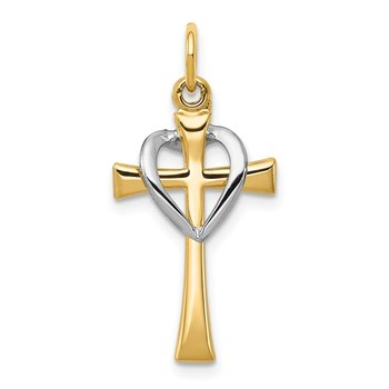 Sterling Silver Rhodium-plated & Vermeil Polished Cross & Heart Pendant